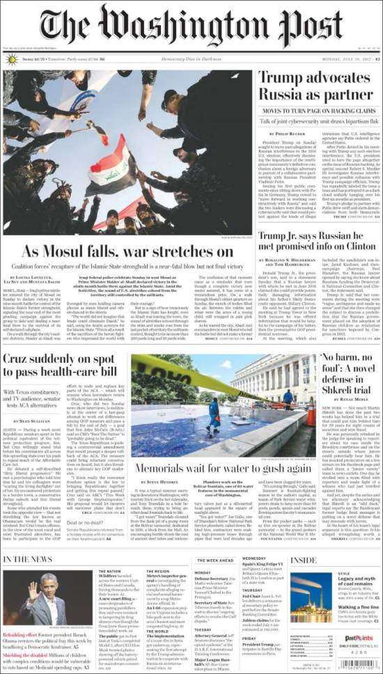 Portada de The Washington Post (USA)