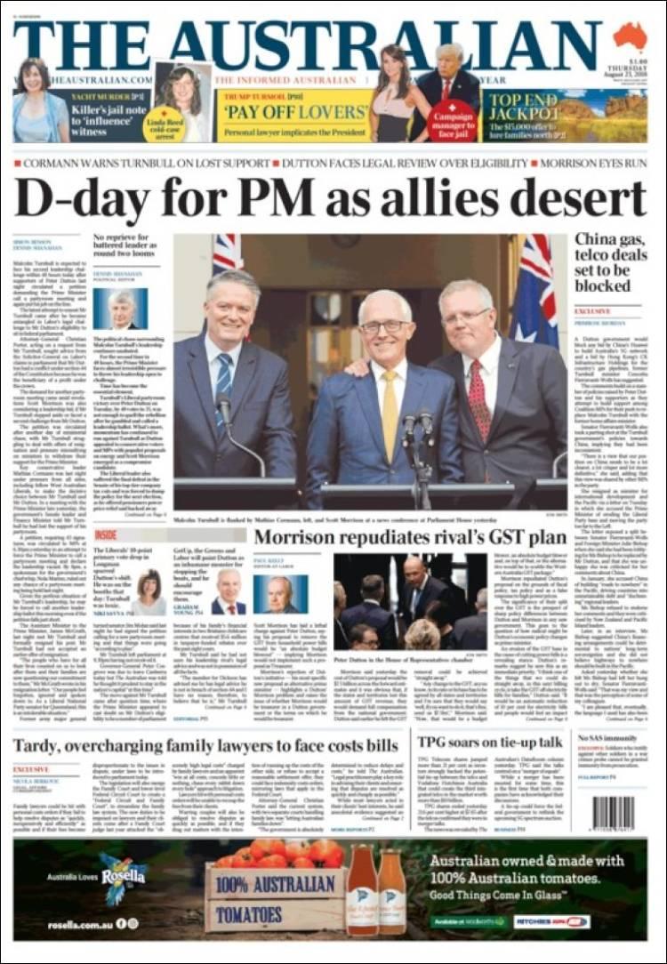 Portada de The Australian (Australia)