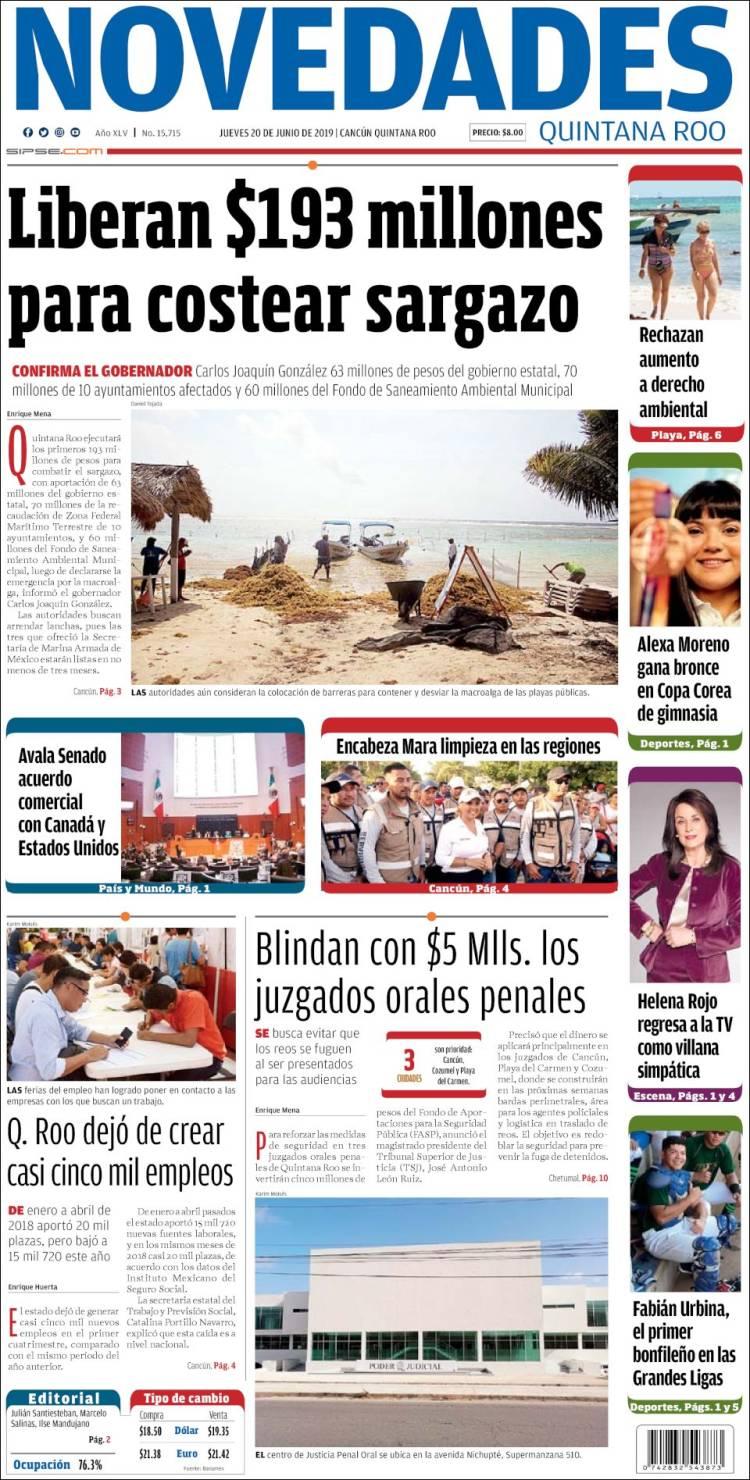 Portada de Novedades de Quintana Roo (México)