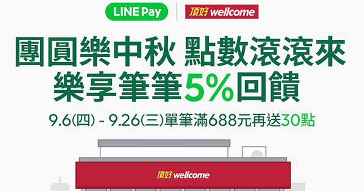 LINE PAY+頂好 | 樂享筆筆5%回饋 單筆滿688元再送30點!