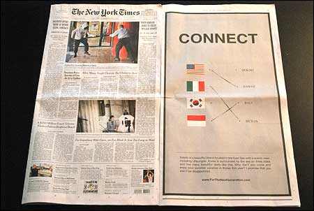 Gmarket Takes Out Dokdo Ad In New York Times