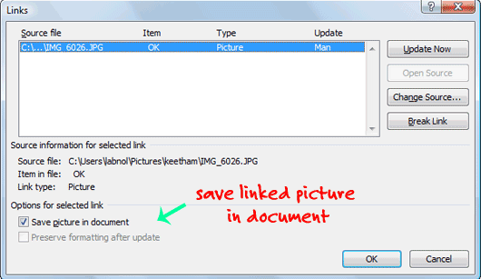 How to Insert Images in a Word Document without Embedding