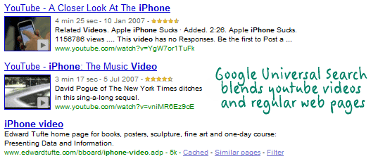 youtube in google universal search