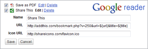 add links to send to in Google Reader