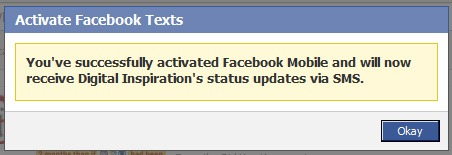 Get SMS Updates on your Mobile Phone from any Facebook Page