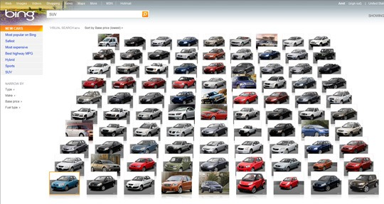bing visual car search