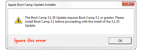 trackpad bootcamp error