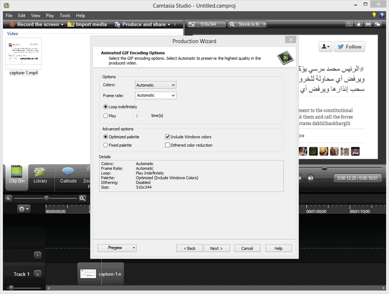 GIF Screencasts with Camtasia