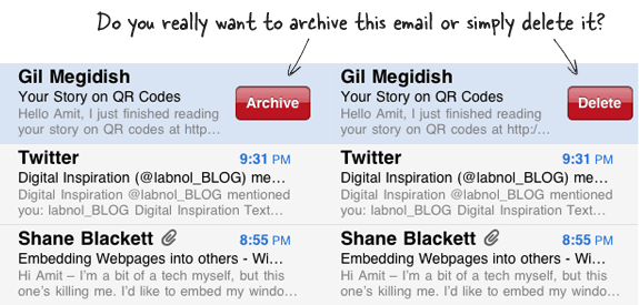 delete or archive email