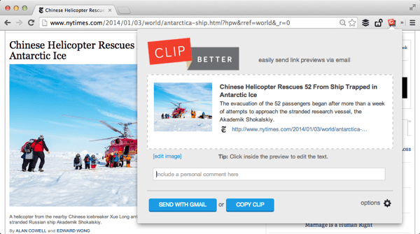 Use the Clip button to create a visual preview of the current page.