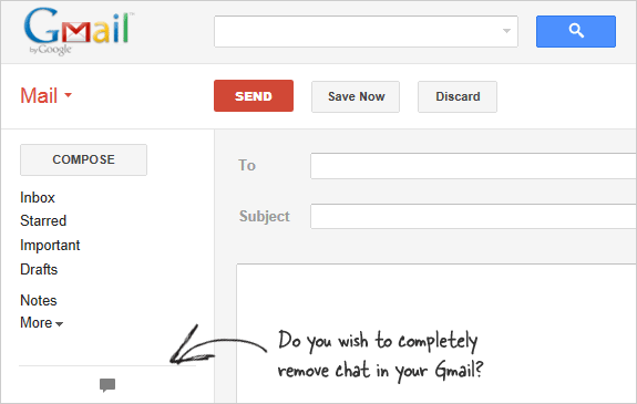 remove gmail chat