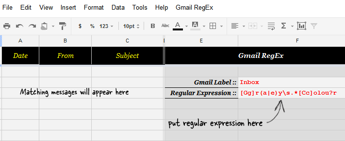 Gmail Search with Regular Expressions