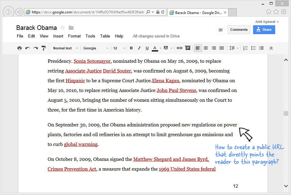 Links in Google Documents
