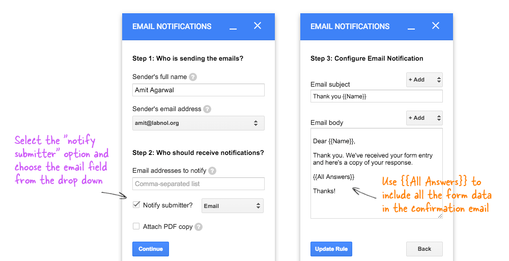 Google Forms Autoresponder - How to Send Confirmation Email to Submitter