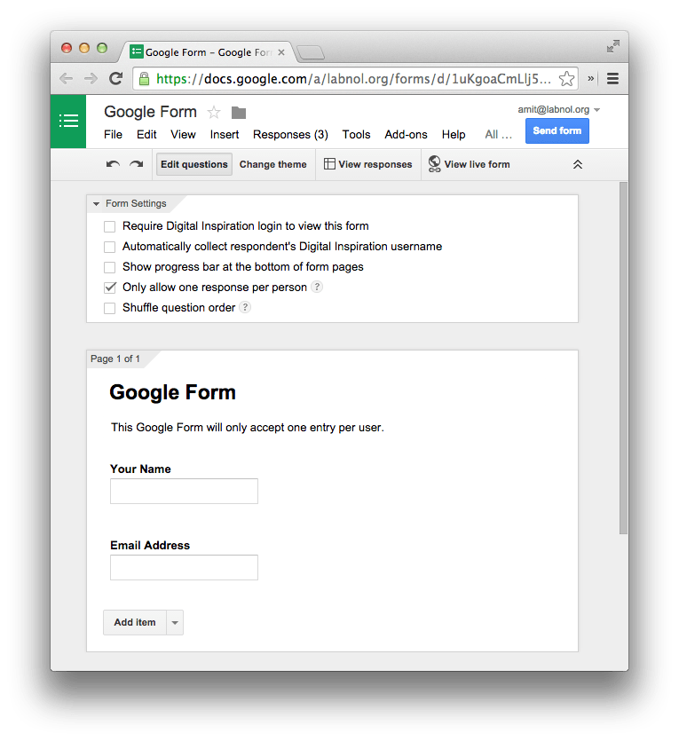 Google Forms - Multiple Entries