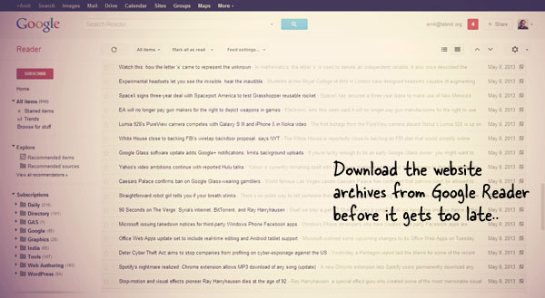 Download Web Archives from Google Reader