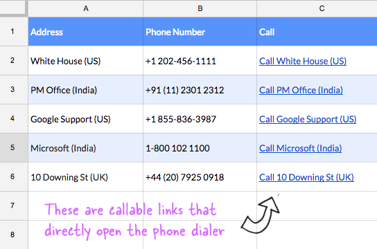 How to Make Phone Numbers Callable in Google Sheets with