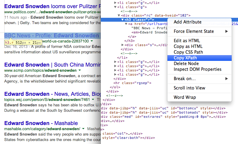 You can find the XPath of any element using Chrome Dev Tools