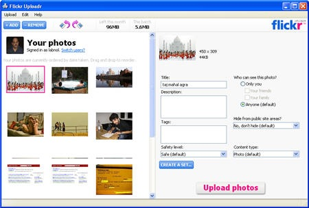 upload flickr photographs