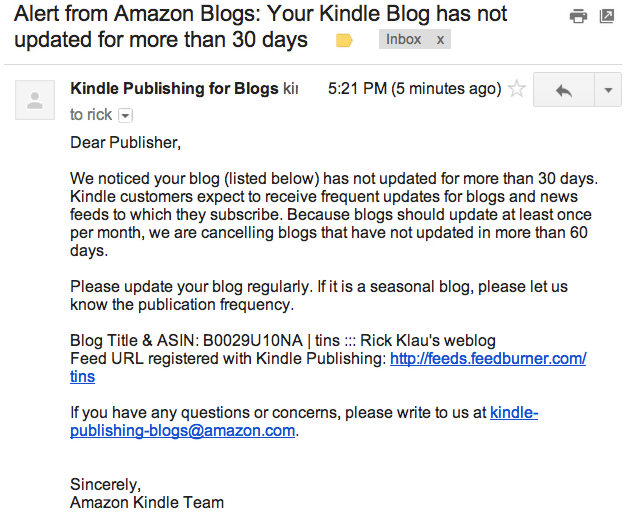 how to read blogs on kindle