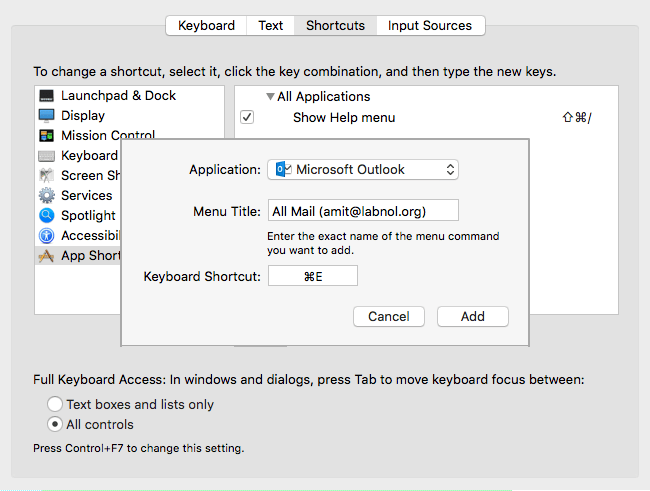 Create Outlook App Keyboard Shortcut