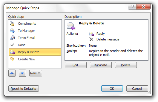outlook quick steps
