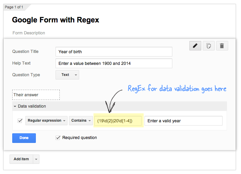 Advanced data validation in Google Forms using RegEx (regular expressions)