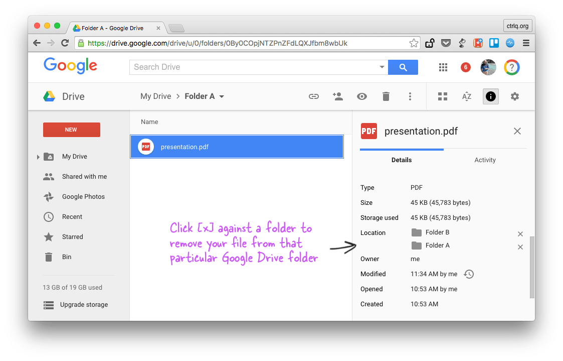 Remove File from Google Drive
