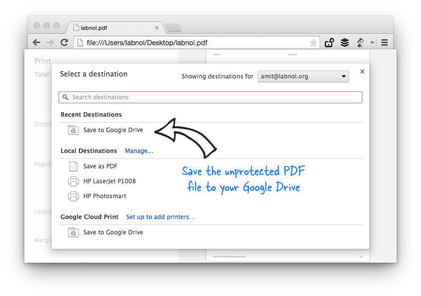 Remove PDF Password with Chrome