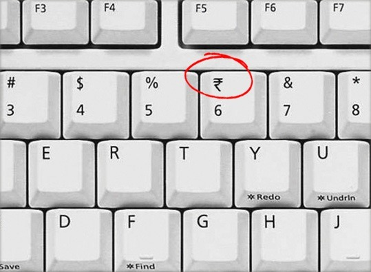 Keyboard with Indian Rupee Symbol