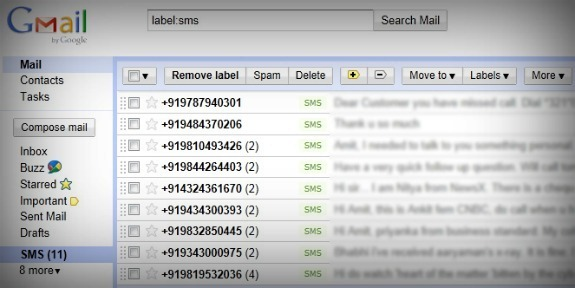 sms backup to Gmail