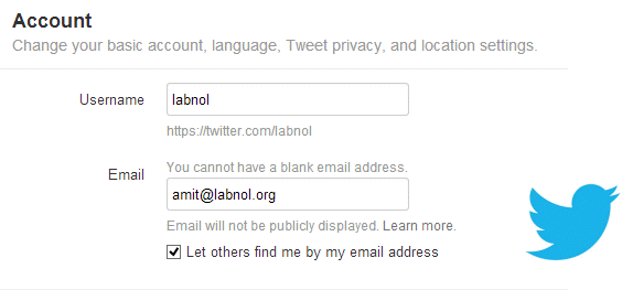 Email Address for Twitter