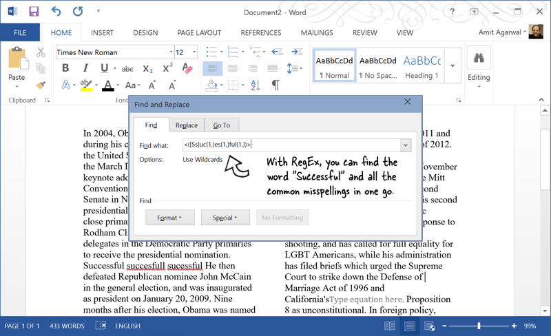 RegEx in Microsoft Word