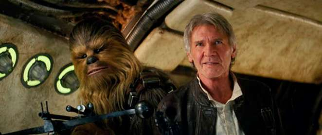 "Peter Mayhew, as Chewbacca, and Harrison Ford in ""Star Wars: The Awakening of the Force""."