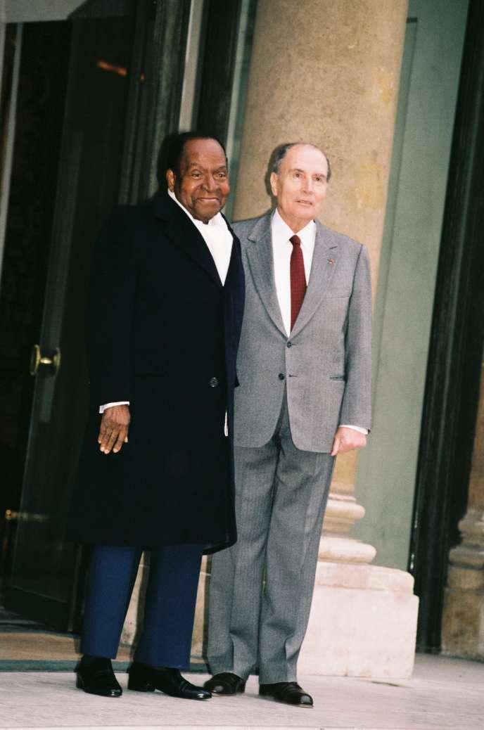 Rencontre entre François Mitterrand et Houphouët-Boigny, en 1992.