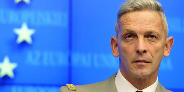 (FILES) This file photo taken on March 05, 2013 shows then French Brigadier General François Lecointre giving a press conference on the situation in Mali at the EU Headquarters in Brussels. François Lecointre was appointed French army Chief of Military Staff on July 19, 2017. / AFP / GEORGES GOBET
