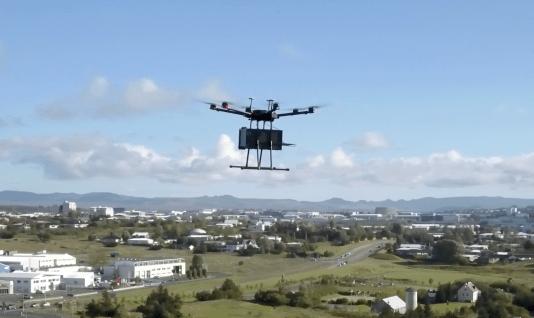 A drone above Reykjavik