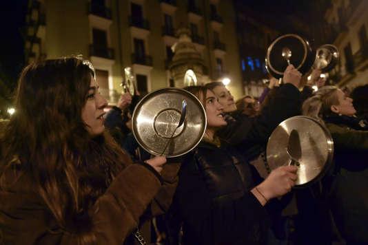 Manifestations de femmes le 8 mars à Pampelune, dans le nord de l'Espagne.