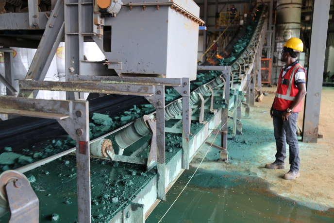 Une usine de transformation du cobalt, à Lubumbashi, au Congo, en février.