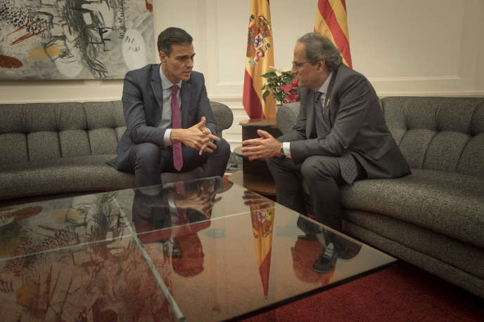 The President of the Spanish Government, Pedro Sanchez (left), and the President of Catalonia, Quim Torra, Thursday, December 20, in Barcelona.