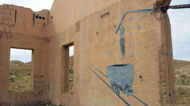Fresque d'Atef Maatallah à Redeyef (Tunisie), en avril 2018.