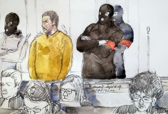 Sketch of the public from the first day of the trial against the Jewish Museum of Brussels, on 10 January. On the left, one of the accused, Mehdi Nemmouche.