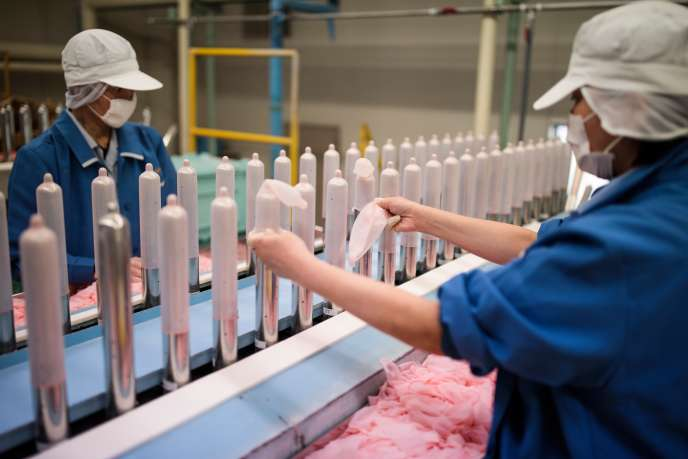 In a factory of Japanese condoms manufacturer Sagami Rubber Industries, January 25, 2018.