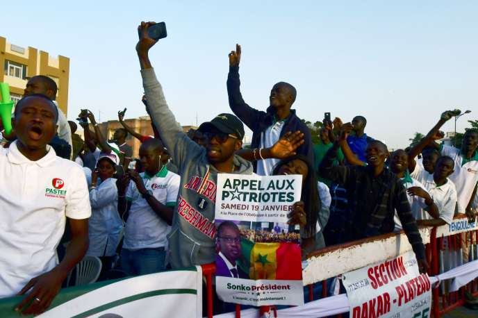 Supporters of candidate Ousmane Sonko on January 19 in Dakar.