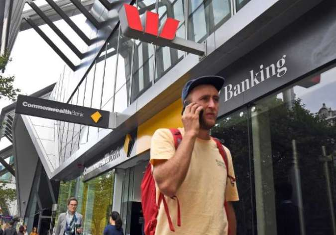 In front of an agency of the Australian bank Westpac, Melbourne, February 4.