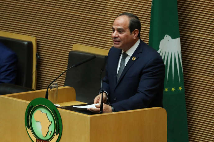 Egyptian President Abdel Fattah Al-Sissi addresses members of the African Union in Adis Ababa on February 10, 2019.