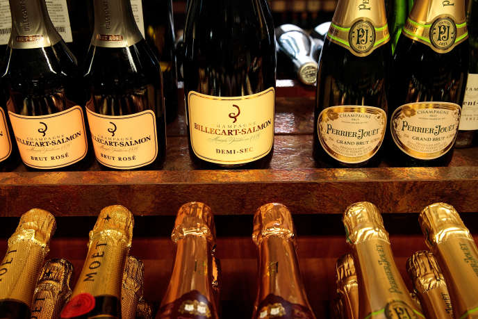 Bottles of champagne at Astor Wines & Spirits, New York, August 29, 2016.