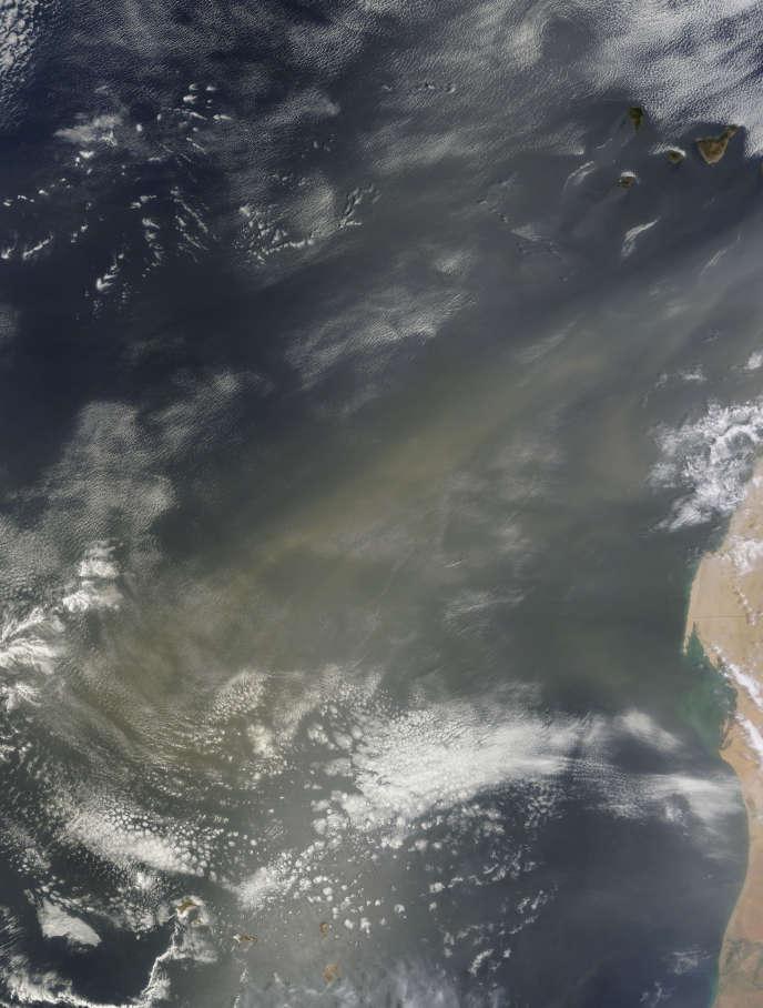 Image de la NASA du 11 août 2011, montrant un panache de poussière du Sahara traversant l'océan Atlantique jusqu'au Cap Vert.