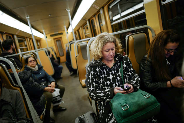 MEP Judith Sargentini in the subway on her way to the European Parliament on April 1st.