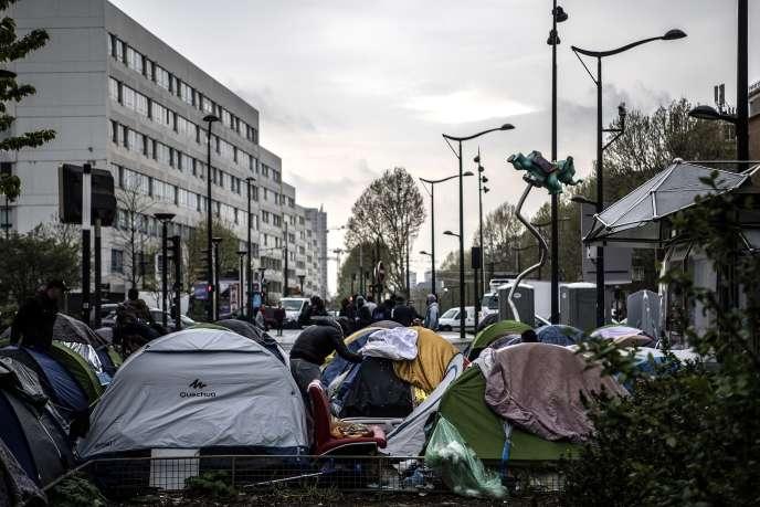 Tents housing migrants, Porte d'Aubervilliers, Paris, April 9.